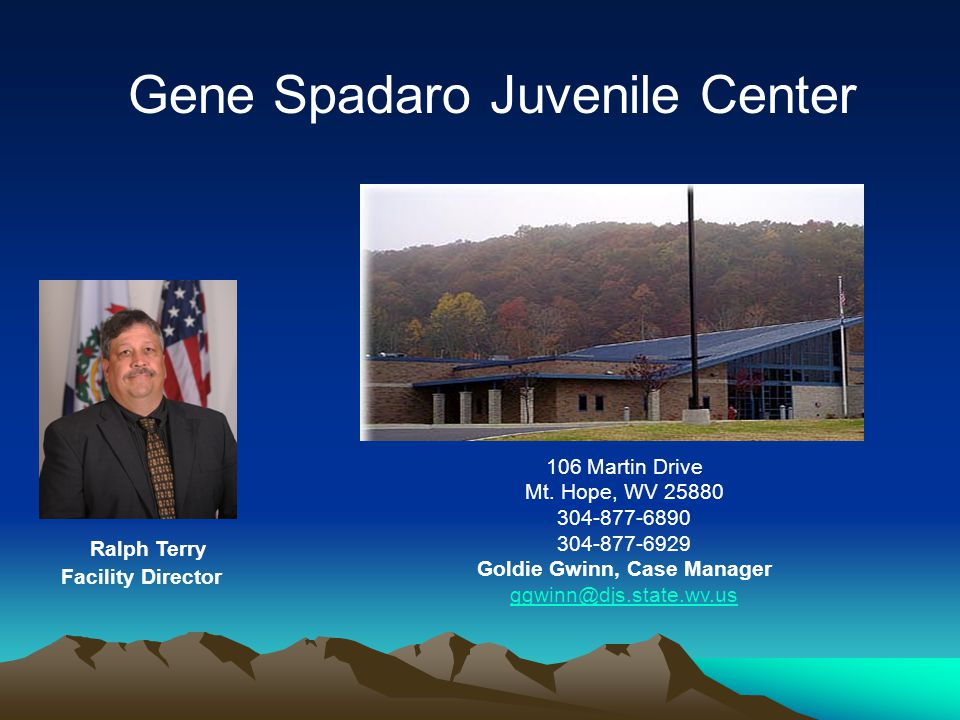106 Martin Drive Mt. Hope, WV 25880 304-877-6890 304-877-6929 Goldie Gwinn, Case Manager ggwinn@djs.state.wv.us Ralph Terry Facility Director Gene Spa