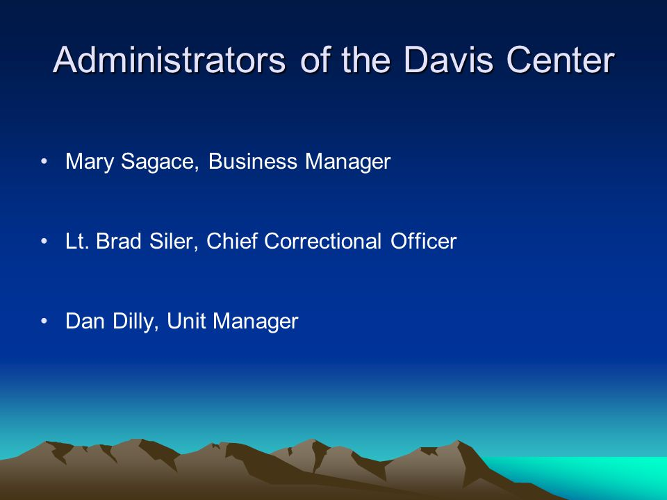 Administrators of the Davis Center Mary Sagace, Business Manager Lt.