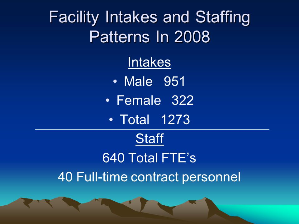 Facility Intakes and Staffing Patterns In 2008 Intakes Male 951 Female 322 Total 1273 Staff 640 Total FTE's 40 Full-time contract personnel