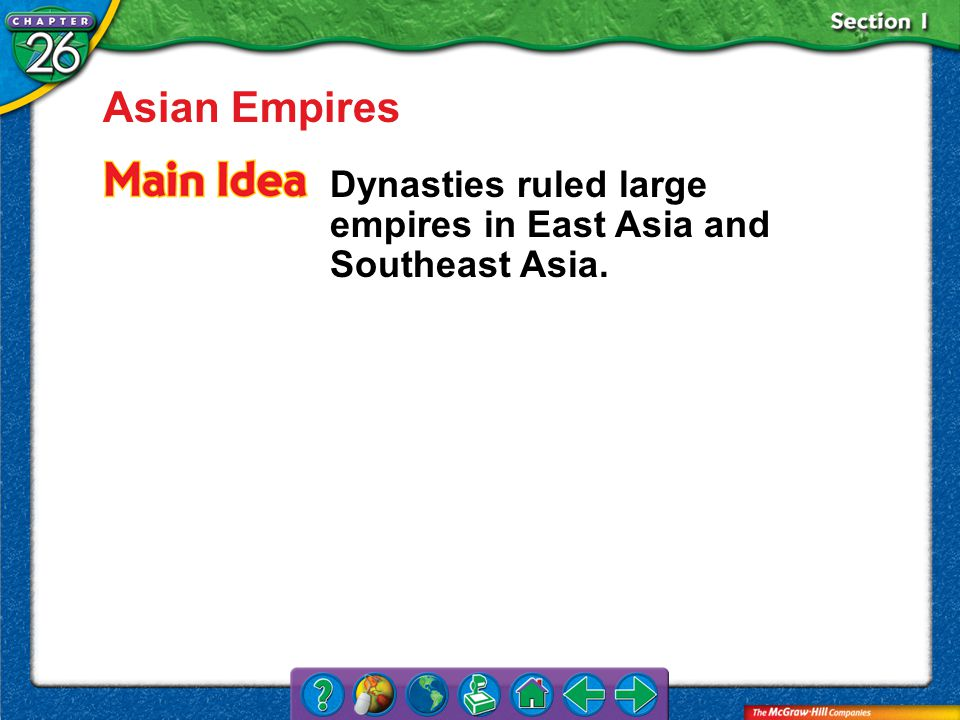 Section 1 Asian Empires Dynasties ruled large empires in East Asia and Southeast Asia.