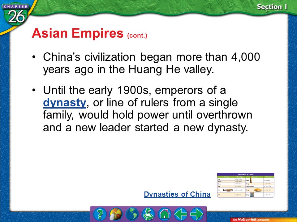 Section 1 Asian Empires (cont.) China's civilization began more than 4,000 years ago in the Huang He valley.