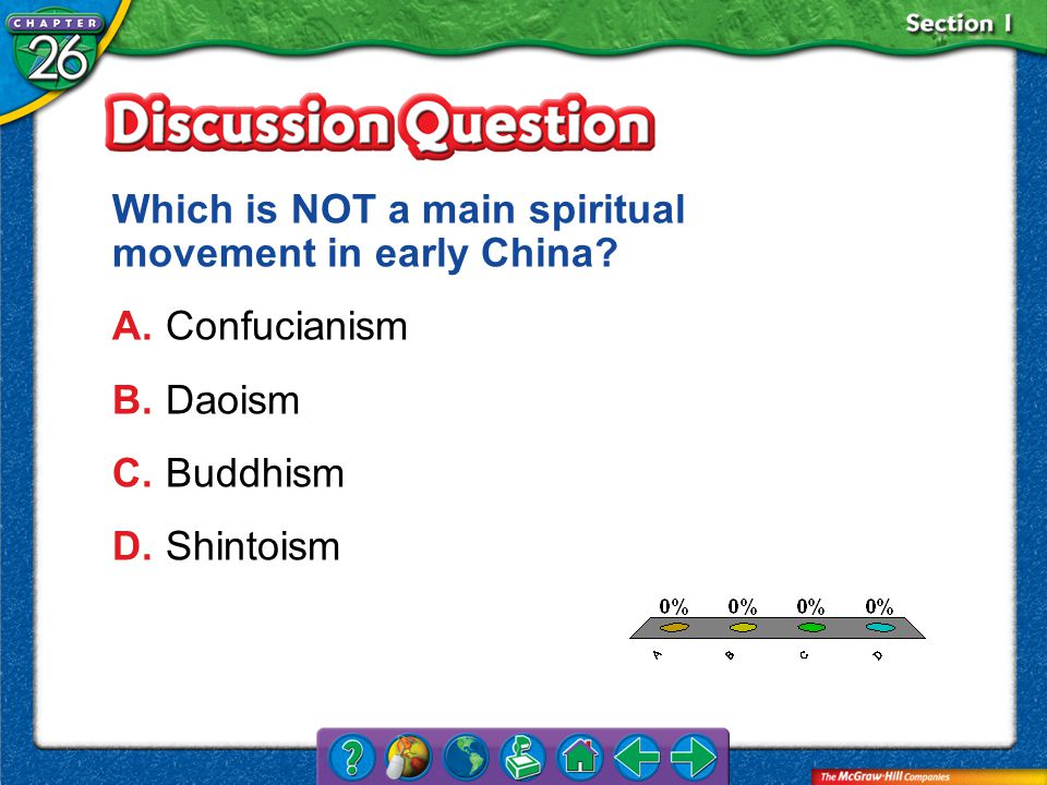 A.A B.B C.C D.D Section 1 Which is NOT a main spiritual movement in early China.