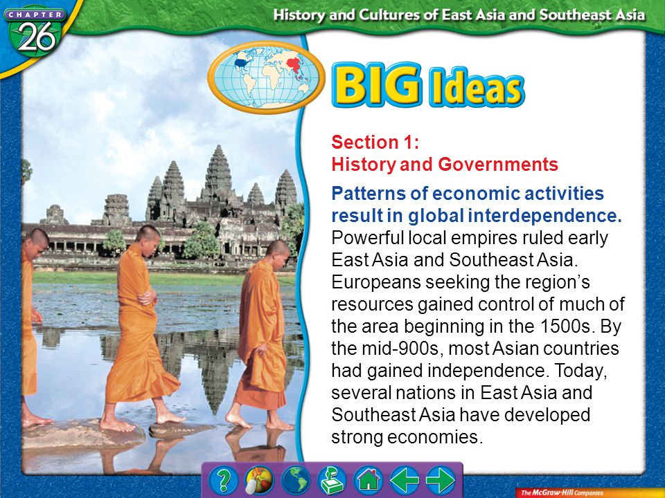 Chapter Intro 2 Section 1: History and Governments Patterns of economic activities result in global interdependence.