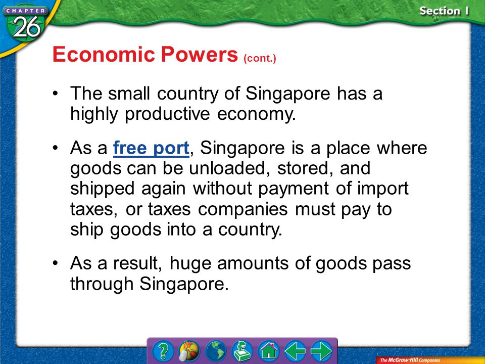 Section 1 The small country of Singapore has a highly productive economy.