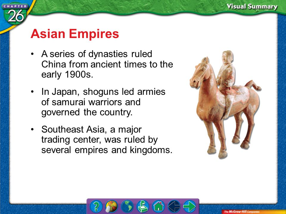 VS 1 Asian Empires A series of dynasties ruled China from ancient times to the early 1900s.