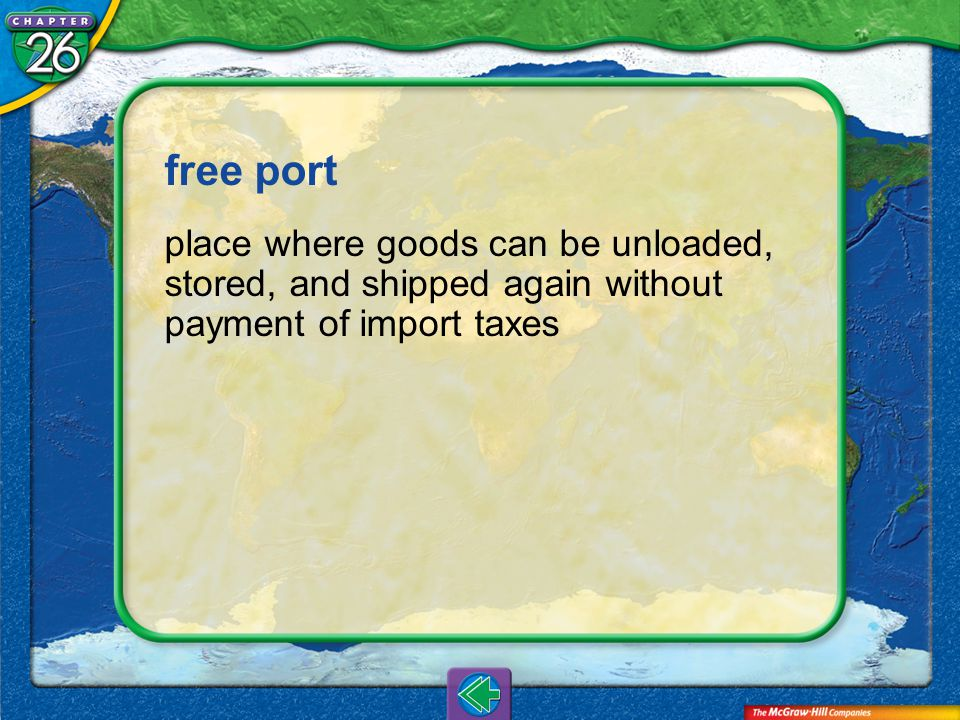Vocab8 free port place where goods can be unloaded, stored, and shipped again without payment of import taxes