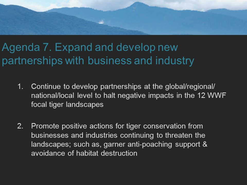 Agenda 7. Expand and develop new partnerships with business and industry 1.Continue to develop partnerships at the global/regional/ national/local lev