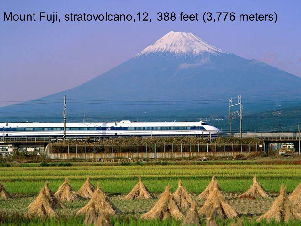 Mount Fuji, stratovolcano,12, 388 feet (3,776 meters)