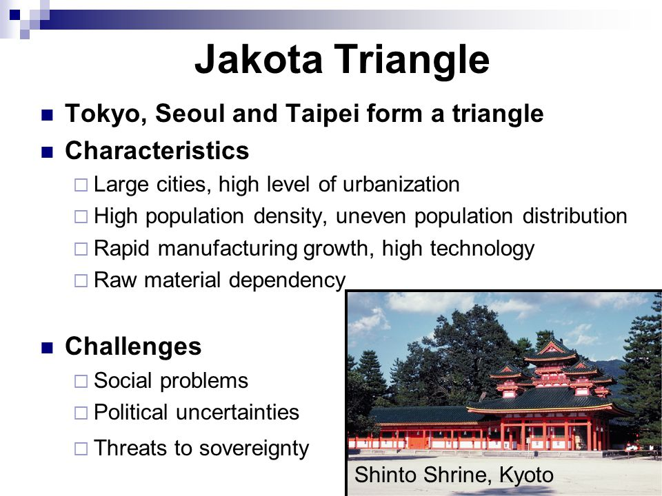 Jakota Triangle Tokyo, Seoul and Taipei form a triangle Characteristics  Large cities, high level of urbanization  High population density, uneven population distribution  Rapid manufacturing growth, high technology  Raw material dependency Challenges  Social problems  Political uncertainties  Threats to sovereignty Shinto Shrine, Kyoto