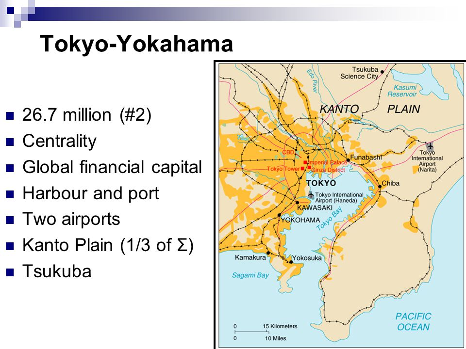 Tokyo-Yokahama 26.7 million (#2) Centrality Global financial capital Harbour and port Two airports Kanto Plain (1/3 of Σ) Tsukuba