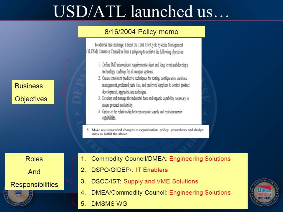 USD/ATL launched us… 8/16/2004 Policy memo 1.Commodity Council/DMEA: Engineering Solutions 2.DSPO/GIDEP/: IT Enablers 3.DSCC/IST: Supply and VME Solut