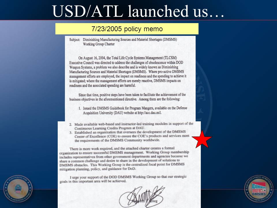 USD/ATL launched us… 7/23/2005 policy memo