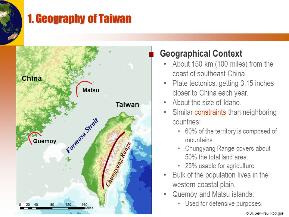 © Dr. Jean-Paul Rodrigue Formosa Strait Chungyang Range Taiwan China 1.