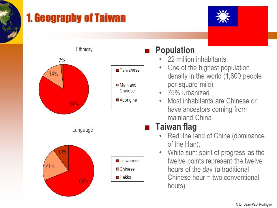© Dr. Jean-Paul Rodrigue 1. Geography of Taiwan ■ Population 22 million inhabitants.