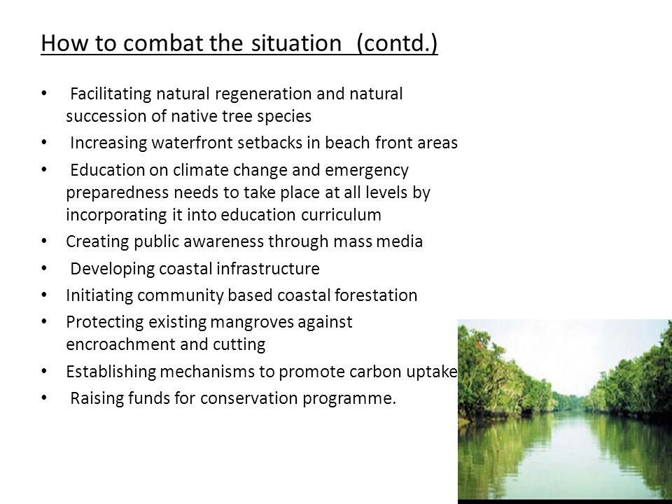 How to combat the situation (contd.) Facilitating natural regeneration and natural succession of native tree species Increasing waterfront setbacks in beach front areas Education on climate change and emergency preparedness needs to take place at all levels by incorporating it into education curriculum Creating public awareness through mass media Developing coastal infrastructure Initiating community based coastal forestation Protecting existing mangroves against encroachment and cutting Establishing mechanisms to promote carbon uptake Raising funds for conservation programme.
