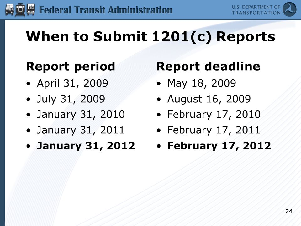 When to Submit 1201(c) Reports Report period April 31, 2009 July 31, 2009 January 31, 2010 January 31, 2011 January 31, 2012 Report deadline May 18, 2