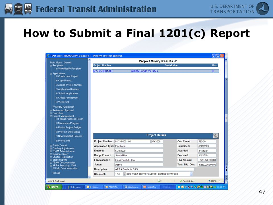How to Submit a Final 1201(c) Report 47