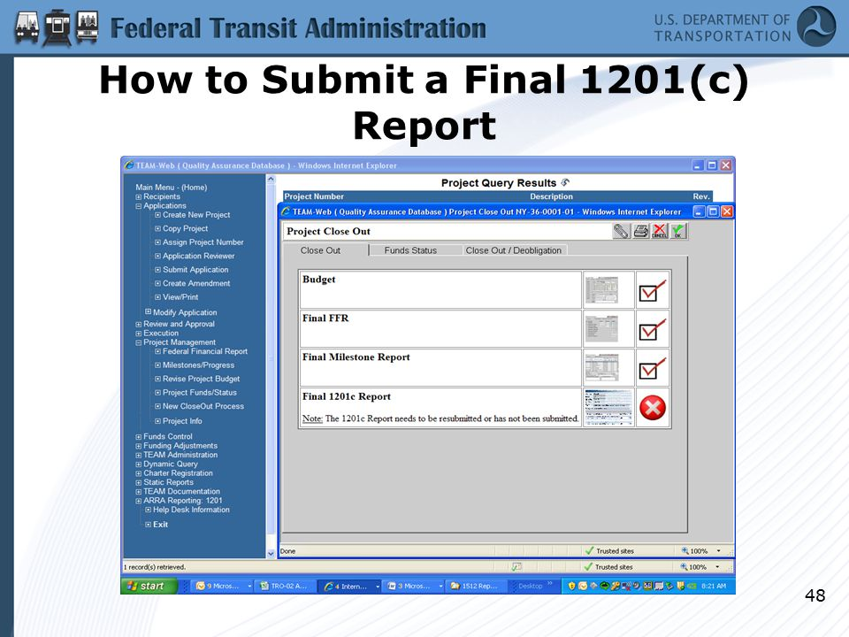 How to Submit a Final 1201(c) Report 48