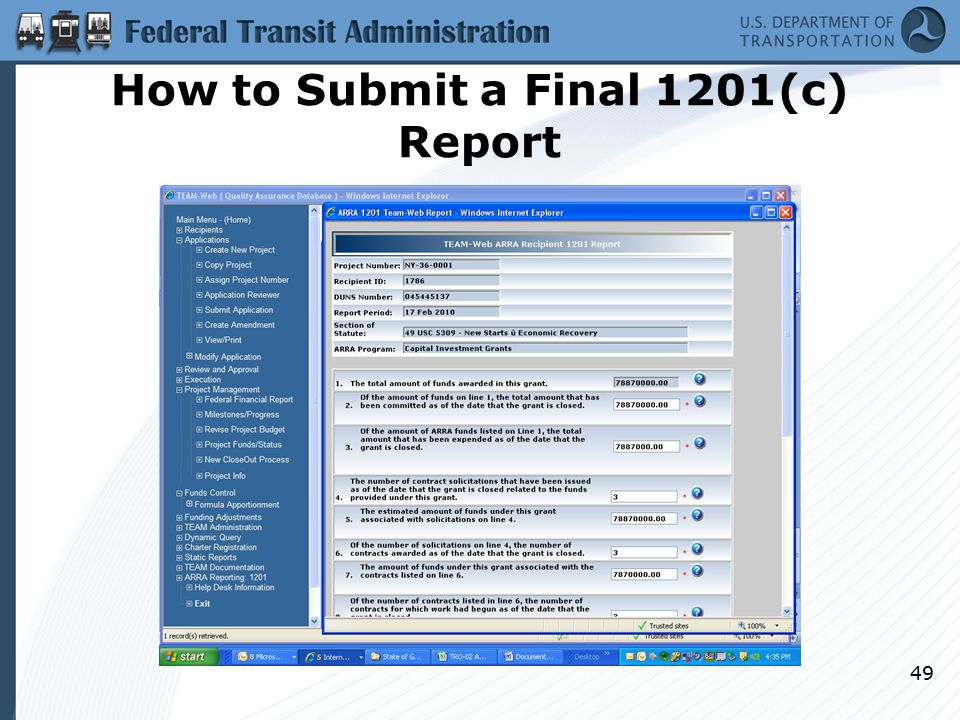 How to Submit a Final 1201(c) Report 49