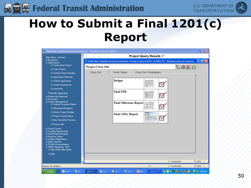How to Submit a Final 1201(c) Report 50