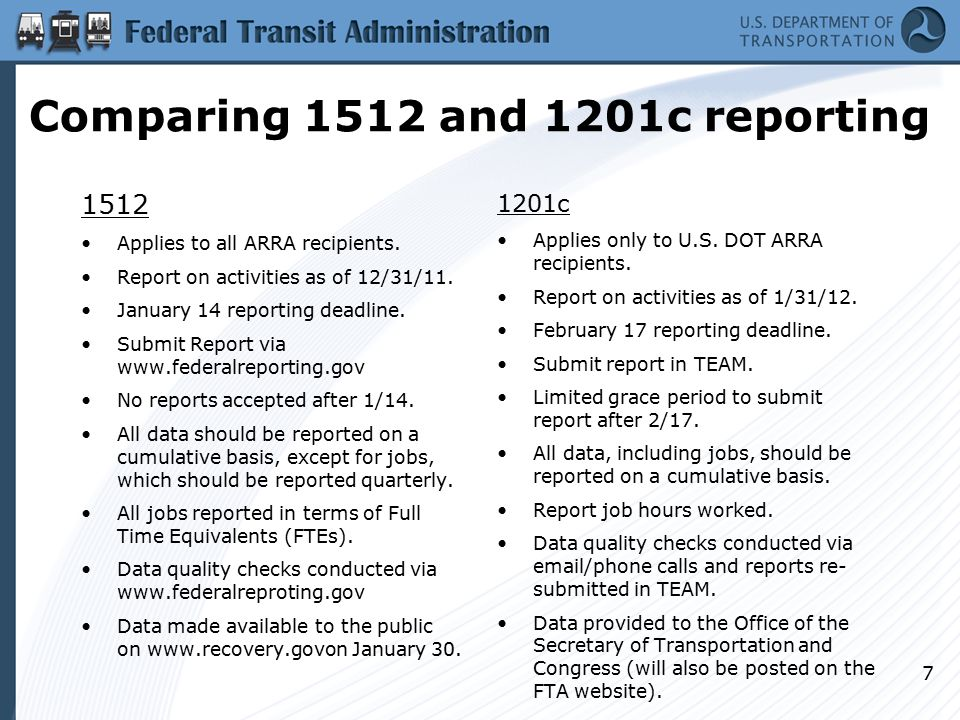 Comparing 1512 and 1201c reporting 1512 Applies to all ARRA recipients.