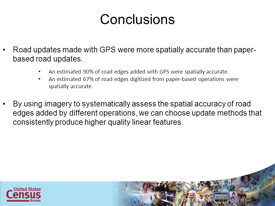 An estimated 90% of road edges added with GPS were spatially accurate.