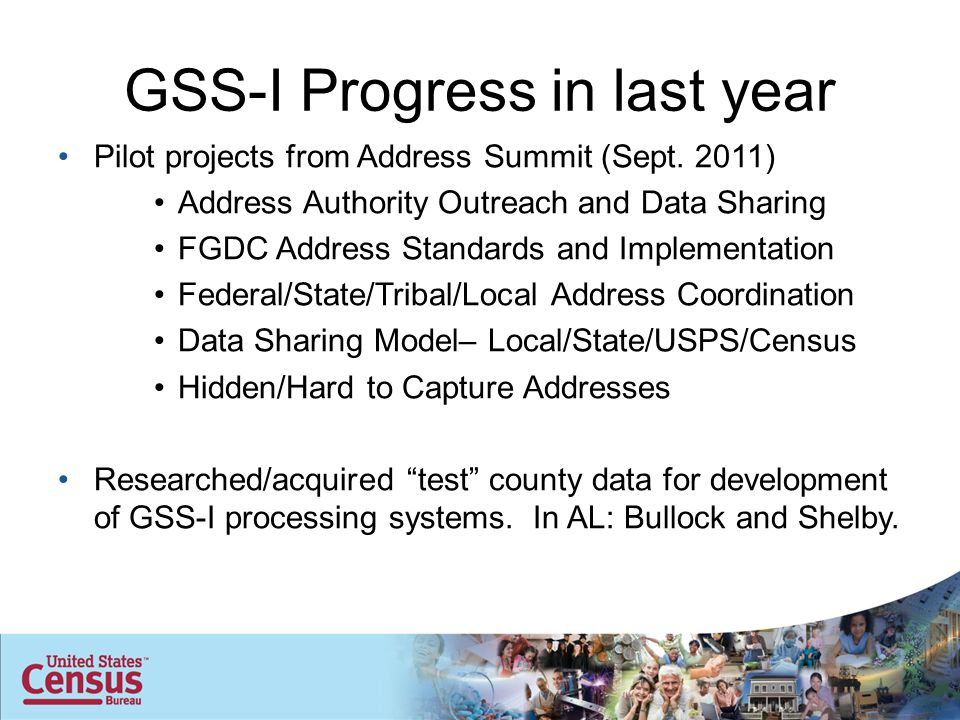 GSS-I Progress in last year Pilot projects from Address Summit (Sept. 2011) Address Authority Outreach and Data Sharing FGDC Address Standards and Imp