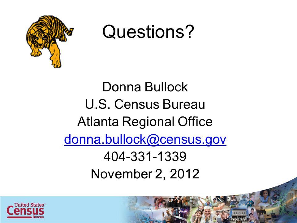 Questions. Donna Bullock U.S.
