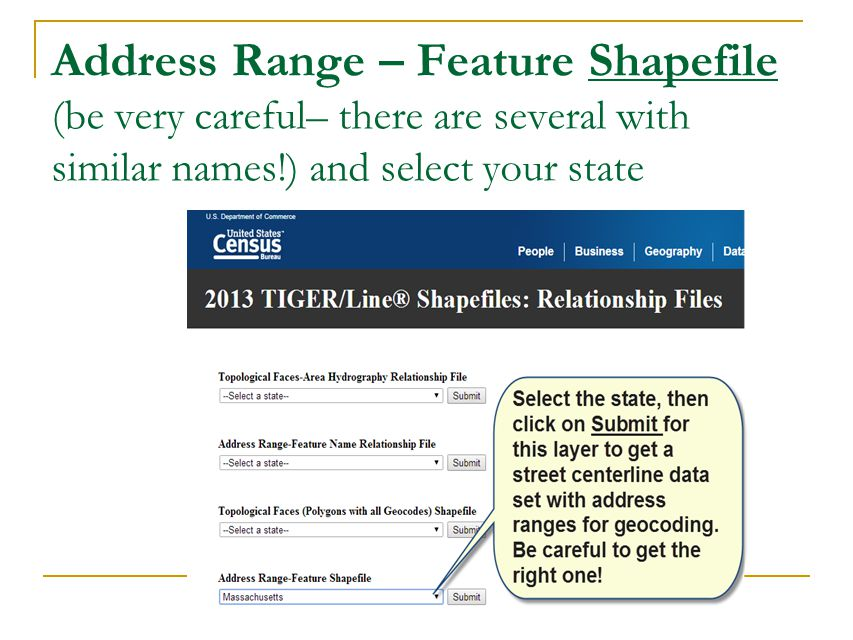 Address Range – Feature Shapefile (be very careful– there are several with similar names!) and select your state