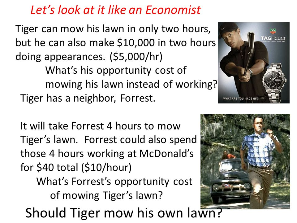 Tiger can mow his lawn in only two hours, but he can also make $10,000 in two hours doing appearances.