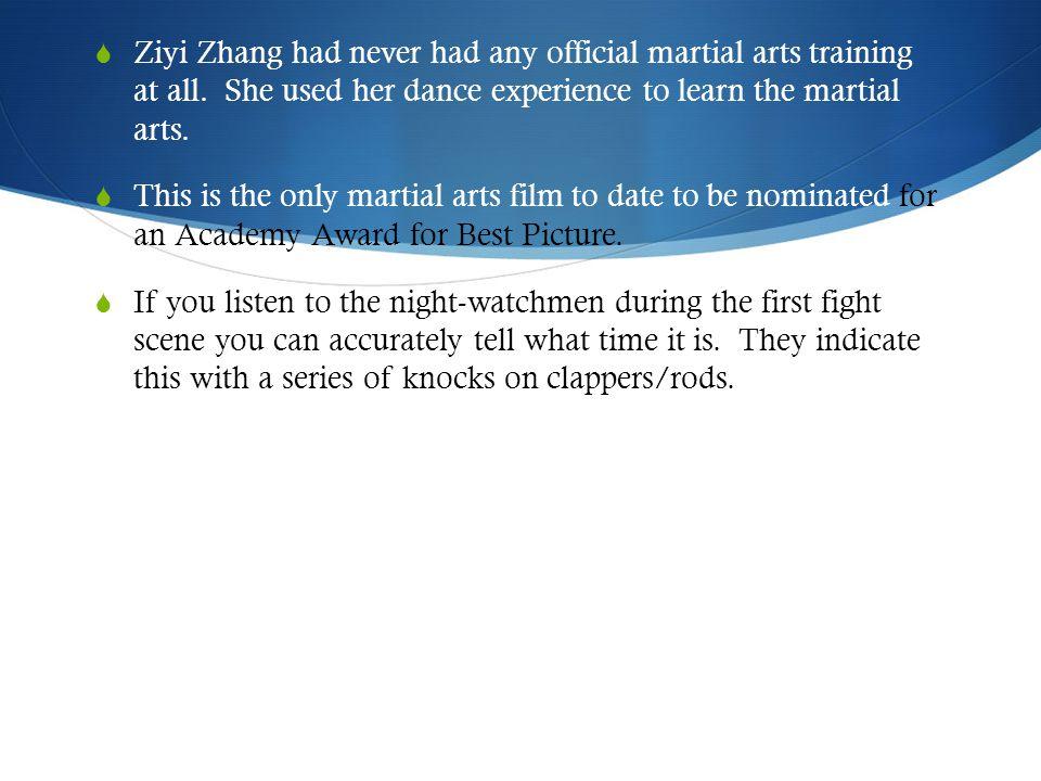  Ziyi Zhang had never had any official martial arts training at all.