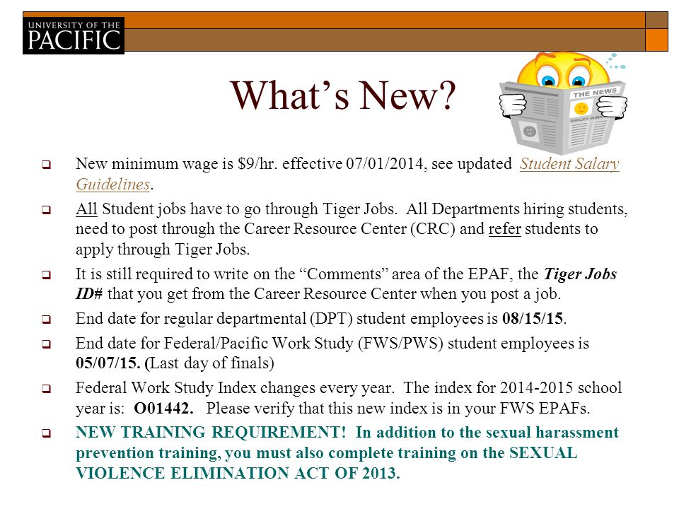 What's New.  New minimum wage is $9/hr.