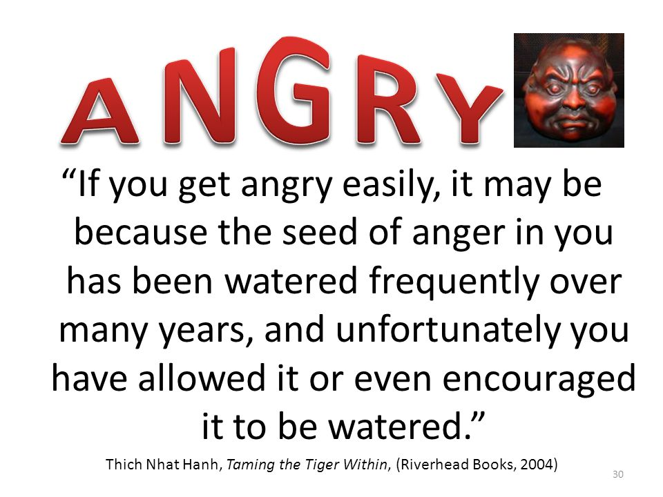 If you get angry easily, it may be because the seed of anger in you has been watered frequently over many years, and unfortunately you have allowed it or even encouraged it to be watered. Thich Nhat Hanh, Taming the Tiger Within, (Riverhead Books, 2004) 30