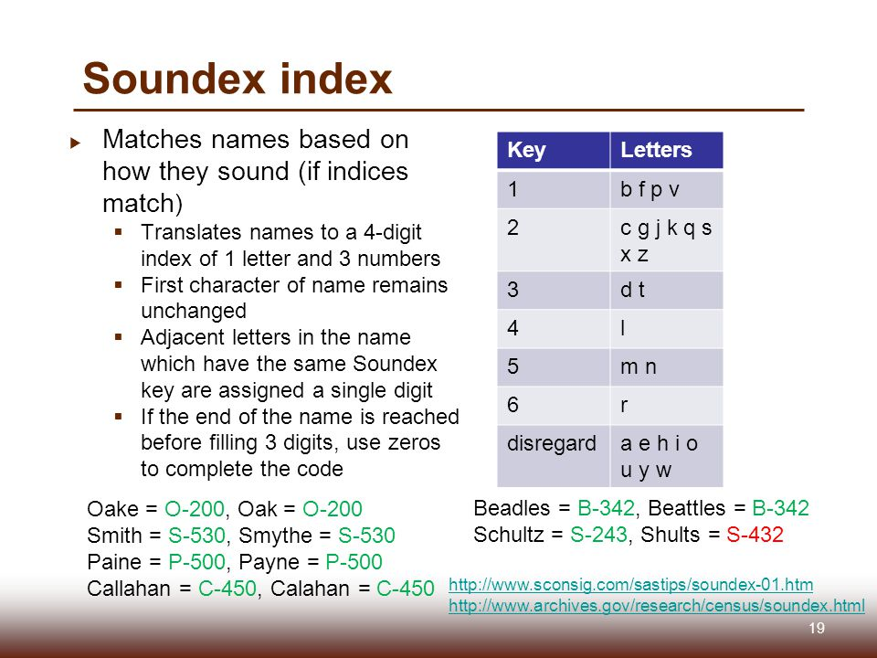Soundex index  Matches names based on how they sound (if indices match )  Translates names to a 4-digit index of 1 letter and 3 numbers  First character of name remains unchanged  Adjacent letters in the name which have the same Soundex key are assigned a single digit  If the end of the name is reached before filling 3 digits, use zeros to complete the code KeyLetters 1b f p v 2c g j k q s x z 3d t 4l 5m n 6r disregarda e h i o u y w Oake = O-200, Oak = O-200 Smith = S-530, Smythe = S-530 Paine = P-500, Payne = P-500 Callahan = C-450, Calahan = C-450 Beadles = B-342, Beattles = B-342 Schultz = S-243, Shults = S-432 http://www.sconsig.com/sastips/soundex-01.htm http://www.archives.gov/research/census/soundex.html 19
