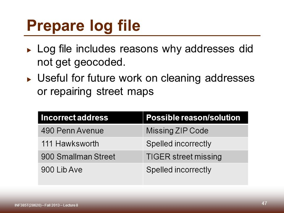 Prepare log file  Log file includes reasons why addresses did not get geocoded.