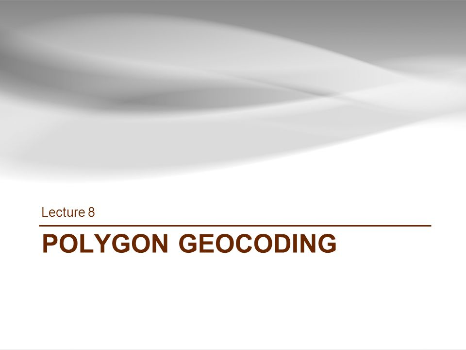 POLYGON GEOCODING Lecture 8