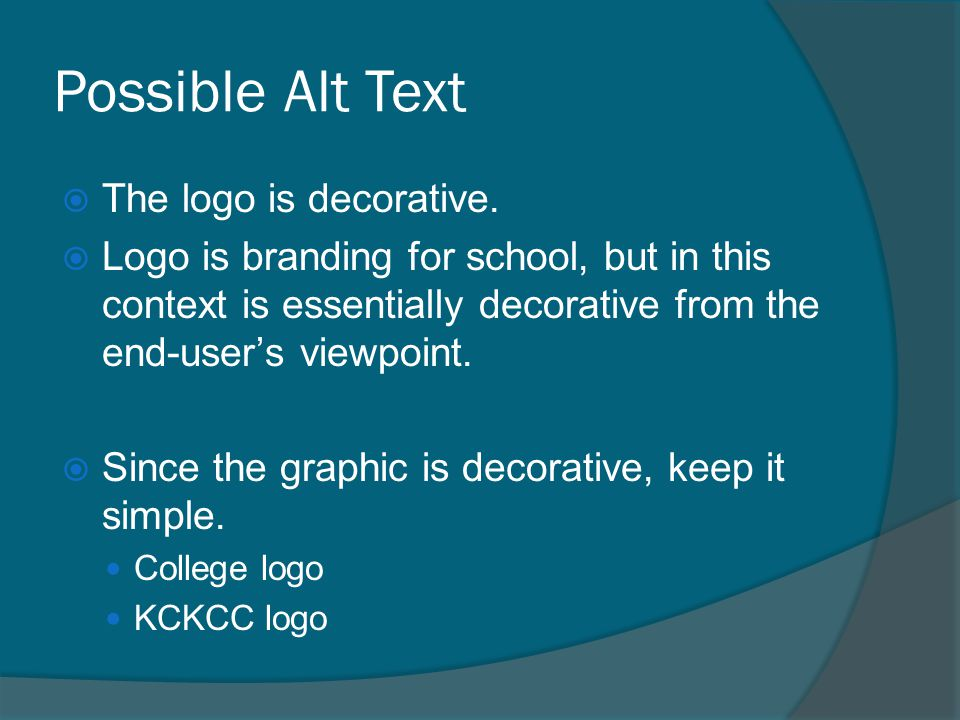 Possible Alt Text  The logo is decorative.  Logo is branding for school, but in this context is essentially decorative from the end-user's viewpoint