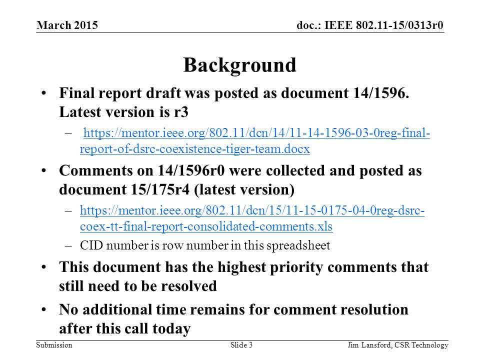doc.: IEEE 802.11-15/0313r0 Submission Background Final report draft was posted as document 14/1596.
