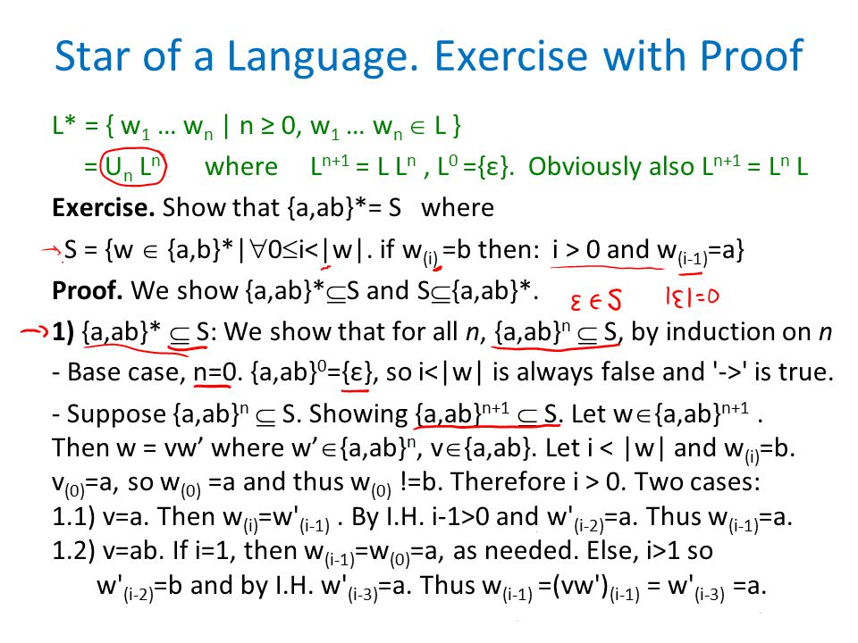 Proof Continued S = {w  {a,b}*|  0  i 0 and w (i-1) =a} For the second direction, we first prove: (*) If w  S and w=w v then w  S.