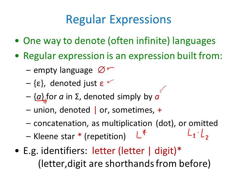 Regular Expressions One way to denote (often infinite) languages Regular expression is an expression built from: –empty language  –{ε}, denoted just ε –{a} for a in Σ, denoted simply by a –union, denoted | or, sometimes, + –concatenation, as multiplication (dot), or omitted –Kleene star * (repetition) E.g.