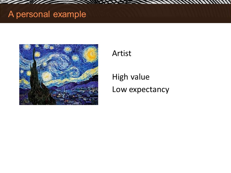 A personal example Artist High value Low expectancy