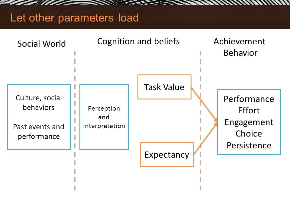 Let other parameters load Social World Achievement Behavior Performance Effort Engagement Choice Persistence Task Value Expectancy Cognition and beliefs Culture, social behaviors Past events and performance Perception and interpretation