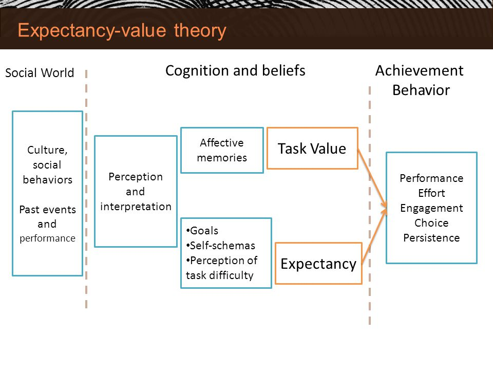 Expectancy-value theory Social World Achievement Behavior Performance Effort Engagement Choice Persistence Task Value Expectancy Cognition and beliefs Culture, social behaviors Past events and performance Perception and interpretation Affective memories Goals Self-schemas Perception of task difficulty