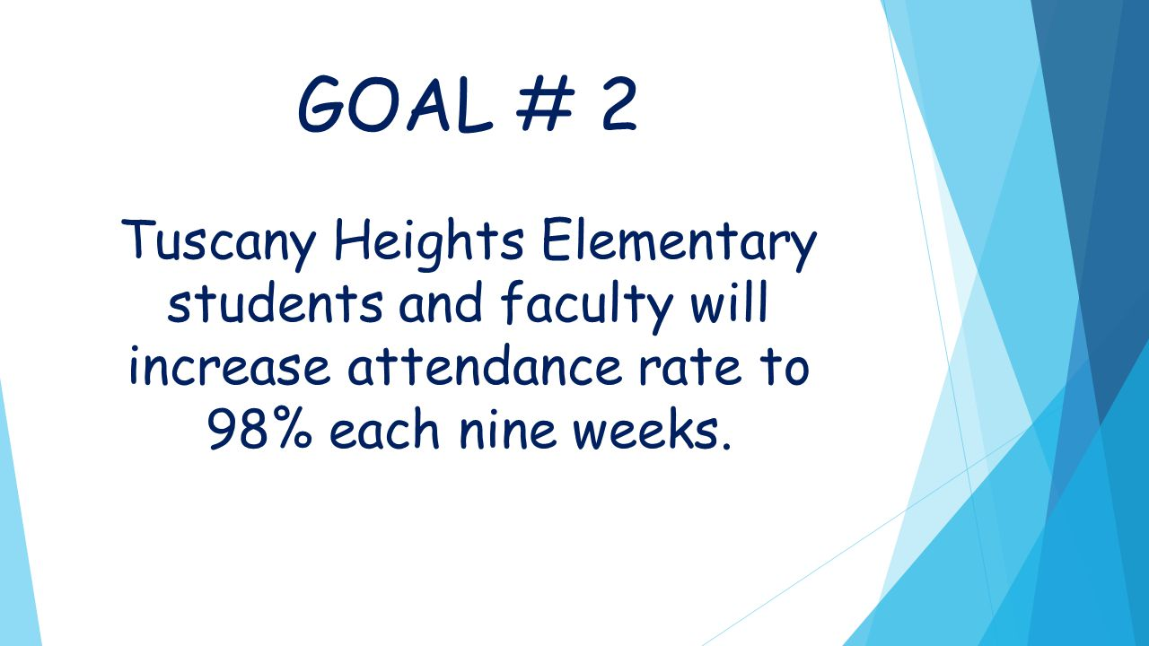 GOAL # 2 Tuscany Heights Elementary students and faculty will increase attendance rate to 98% each nine weeks.