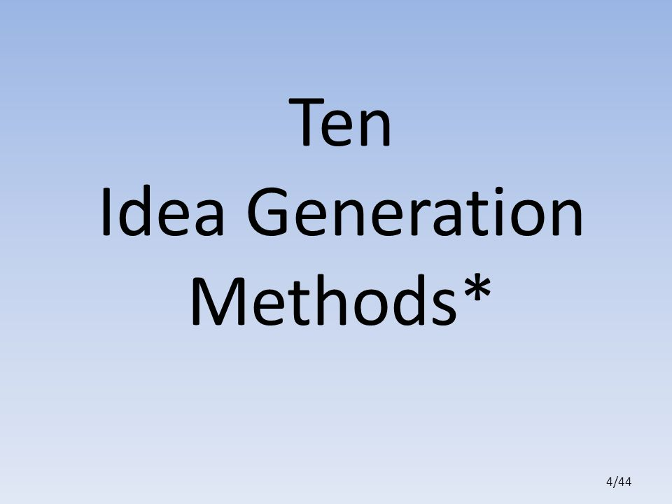 4/44 Ten Idea Generation Methods*