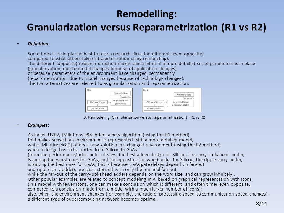 8/44 Remodelling: Granularization versus Reparametrization (R1 vs R2) Definition: Sometimes it is simply the best to take a research direction different (even opposite) compared to what others take (retrajectorization using remodeling).