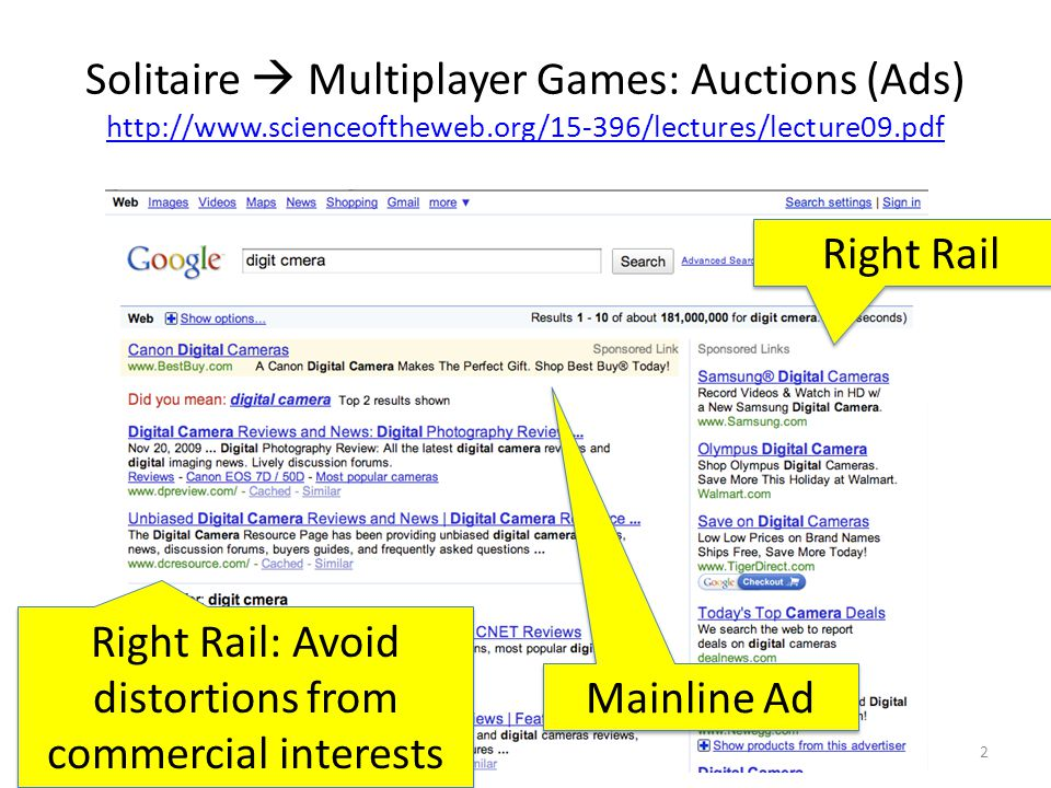 Solitaire  Multiplayer Games: Auctions (Ads) http://www.scienceoftheweb.org/15-396/lectures/lecture09.pdf http://www.scienceoftheweb.org/15-396/lectures/lecture09.pdf Dec 9, 20092 Mainline Ad Right Rail Right Rail: Avoid distortions from commercial interests