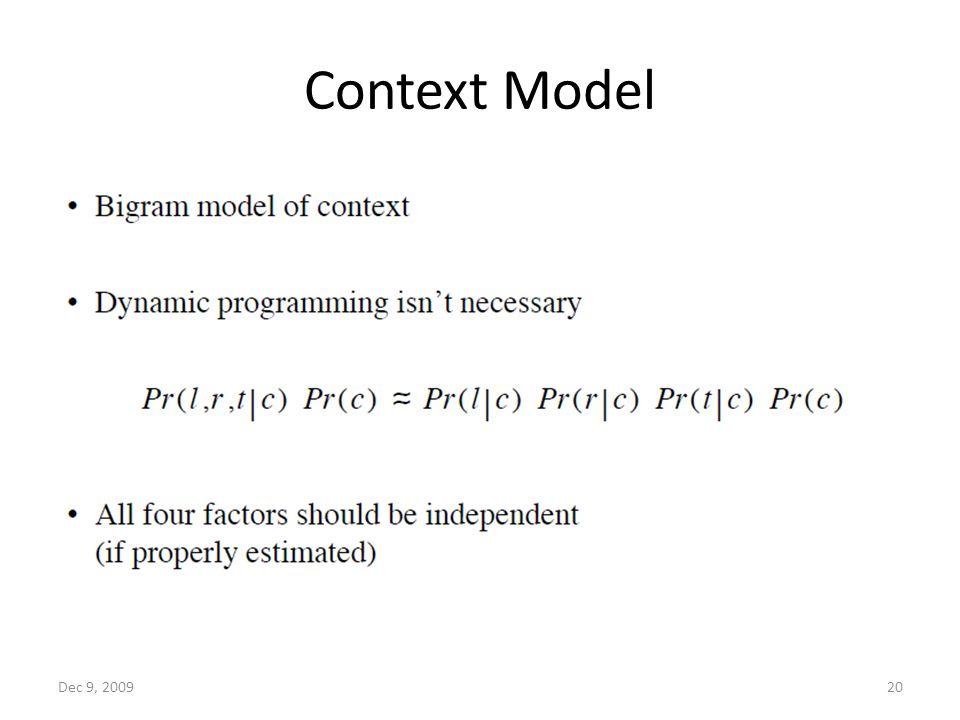 Context Model Dec 9, 200920