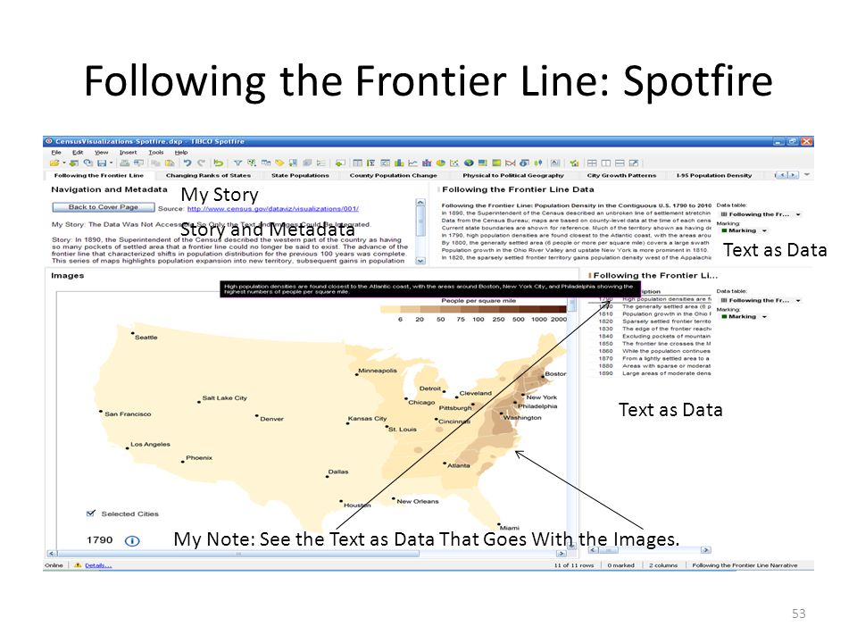 Following the Frontier Line: Spotfire 53 My Story Story and Metadata Text as Data My Note: See the Text as Data That Goes With the Images.