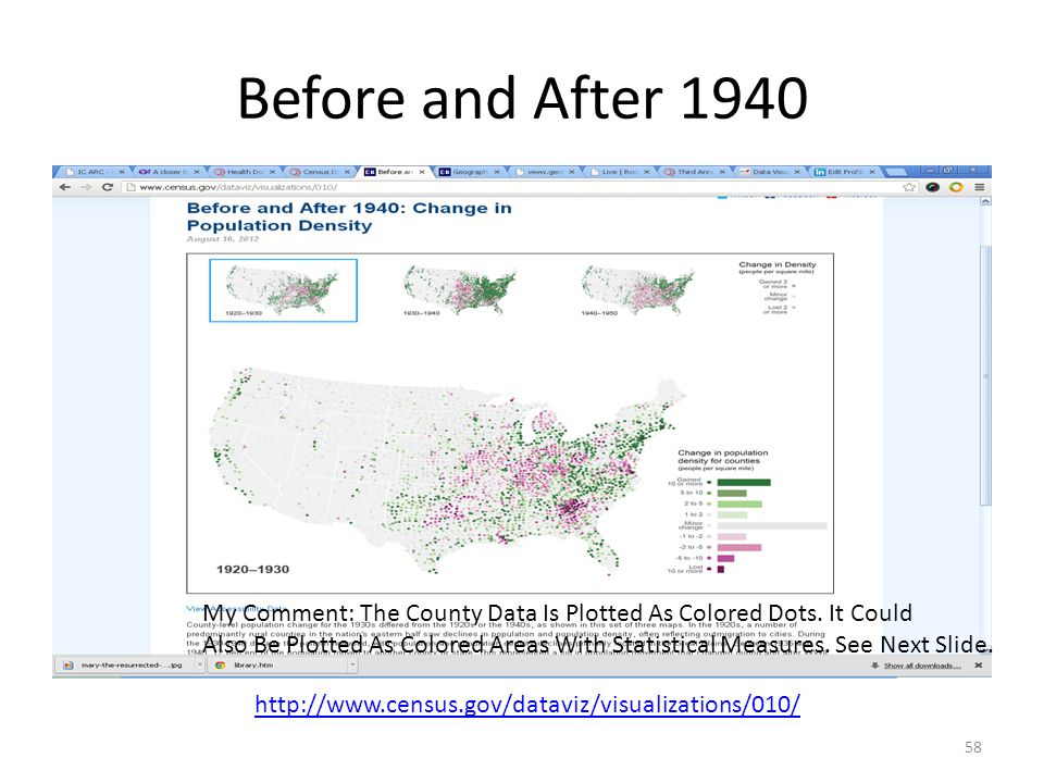 Before and After 1940 58 http://www.census.gov/dataviz/visualizations/010/ My Comment: The County Data Is Plotted As Colored Dots.